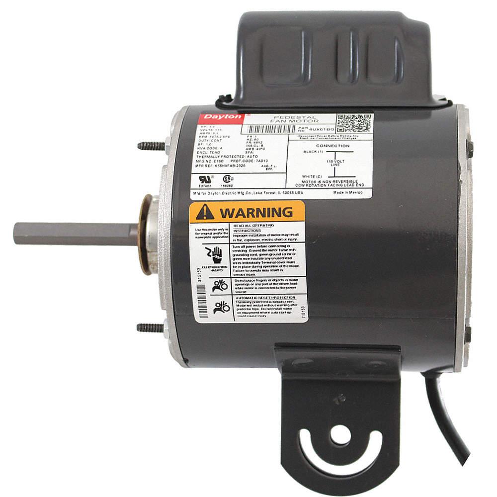 dayton 1 4 hp pedestal fan motor permanent split capacitor 1075 rh grainger com
