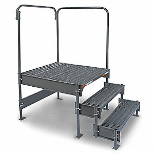 "Work Platform, Steel, Single Access Platform Style, 15"" to 18"" Platform Height"
