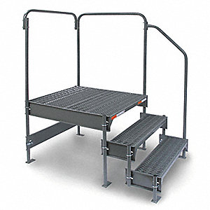 "Work Platform, Steel, Single Access Platform Style, 18"" to 27"" Platform Height"