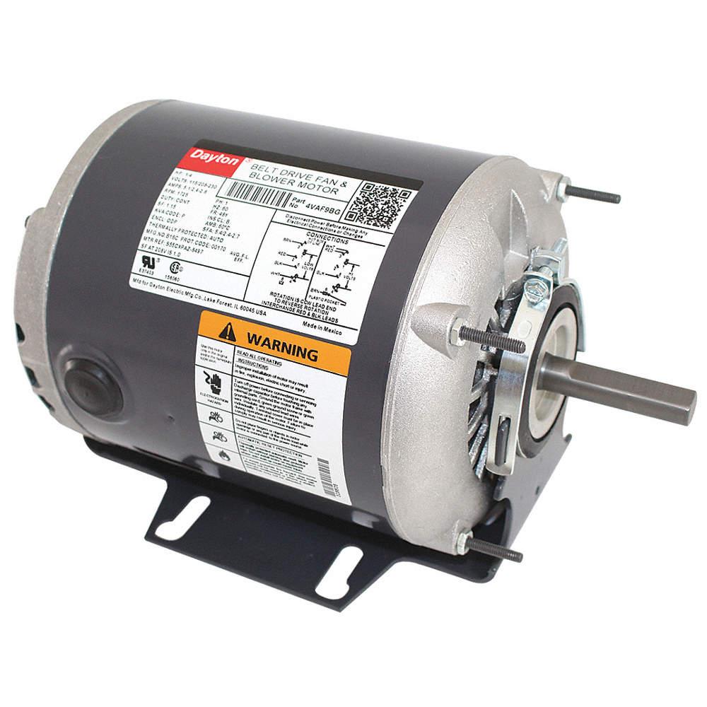 1/4 HP Belt Drive Motor, Split-Phase, 1725 Nameplate RPM, 115/208-230 Dayton Electric Motor Hp V Wiring Diagram on