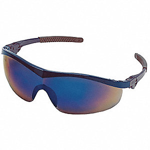 Thunder  Scratch-Resistant Safety Glasses, Blue Mirror Lens Color