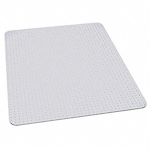 "Rectangular Chair Mat, Clear, For Carpet with Padding Up to 3/4"" Thick"