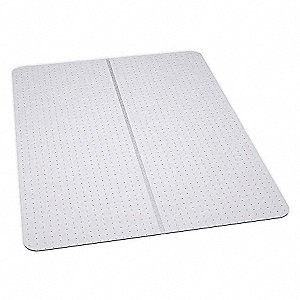 "Folding Rectangle Chair Mat, Clear, For Carpet with Padding Up to 1/4"" Thick"