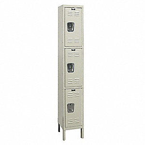 "Tan Wardrobe Locker, (1) Wide, (3) Tier Openings: 3, 12"" W X 18"" D X 78"" H"