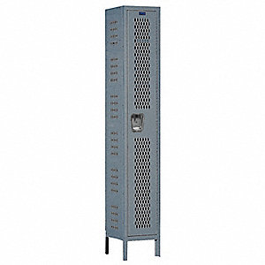Wrdrb Lockr,Vent,1 Wide, 1 Tier,Gray