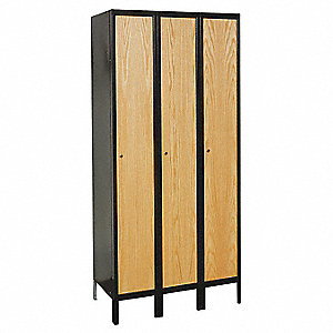 Wrdrb Lockr,Solid,3 Wd,1 Tier,Wood/Blac