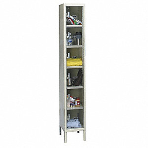 Box Lockr,Clrview,1 Wide, 6 Tier,Prchmnt