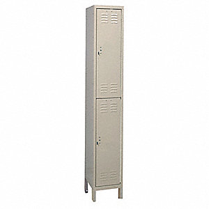 "Tan Wardrobe Locker, (1) Wide, (2) Tier Openings: 2, 12"" W X 15"" D X 78"" H"