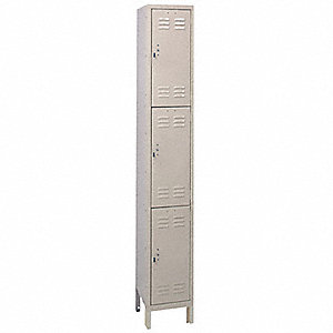"Wardrobe Locker, Assembled, Three Tier, 12"" Overall Width"