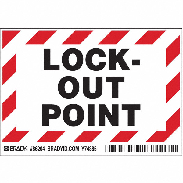BRADY Lockout Label 3 1 2 In H 5 In W PK5 4VK17 86204