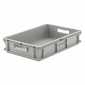 "Straight Wall Container, Gray, 5""H x 16""L x 12""W, 1EA"
