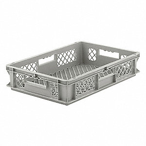 "Straight Wall Container, Gray, 5""H x 24""L x 16""W, 1EA"