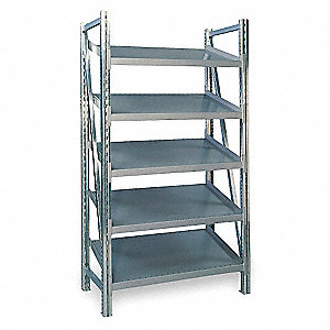 "48"" x 24"" x 78-1/2"" Galvanized Steel Boltless Shelving Starter Unit, Gray&#x3b; Number of Shelves: 5"