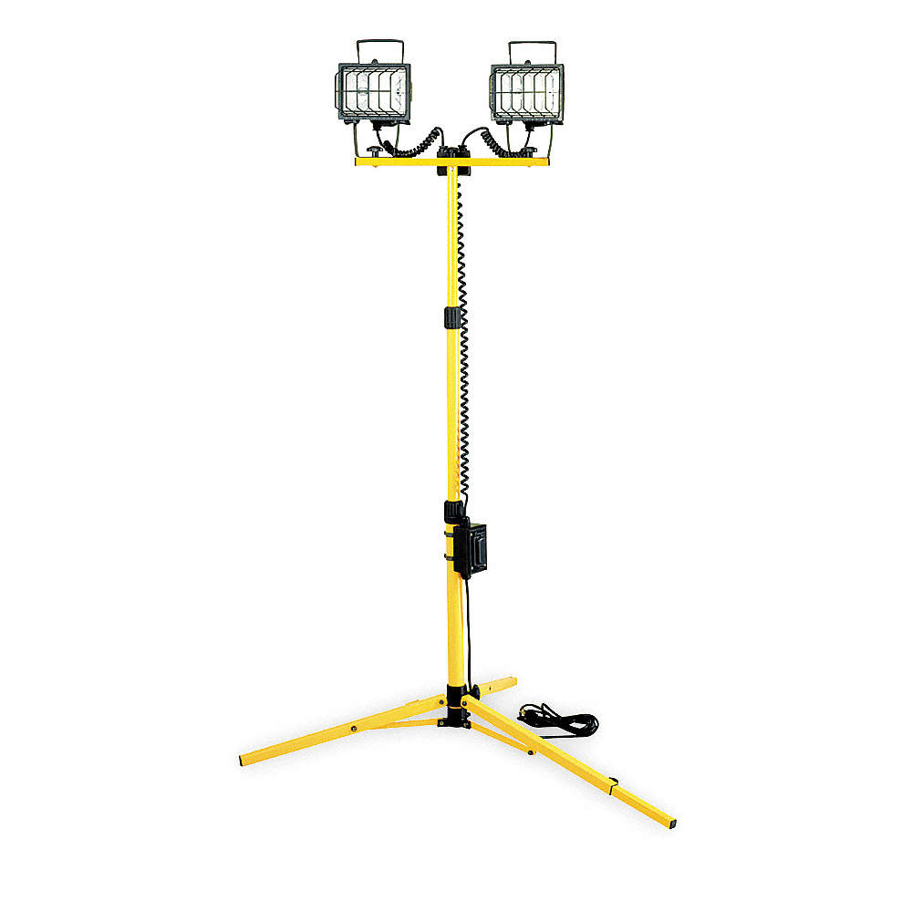 Lumapro 500w Halogen Floor Stand Temporary Job Site Light Yellow Alternative Power Supply Zoom Out Reset Put Photo At Full Then Double Click