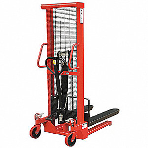 "Fixed Base Hydraulic Stacker, 3000 lb., Fork Width 6-5/16"", Fork Length 43"", Lifting Height Max. 63"""