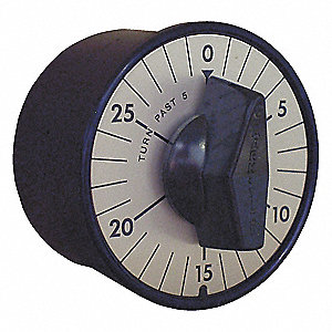 Spring-Wound Timer, Satin Chrome, Timing Range:  0 to 30 min., 20 Max. Amps @ 125VAC
