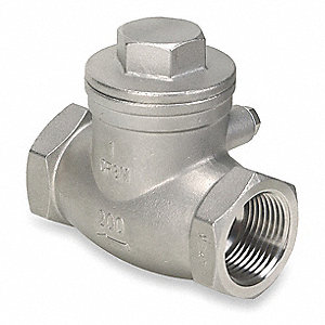 "3"" Swing Check Valve, 316 Stainless Steel, NPT Connection Type"