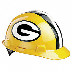 V-Gard Green Bay Packers Front Brim NFL Hard Hat, Size: One Size Fits Most