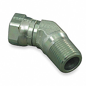 FNPSM to MNPT 45° Elbow Pipe Thread Hydraulic Hose Adapter