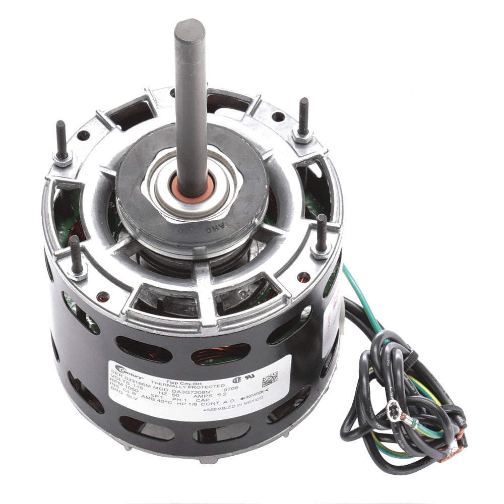 CENTURY 1/8 HP Direct Drive Blower Motor, Shaded Pole, 1050 ...