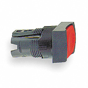 Illuminated Push Button Operator, Red, Maintained Action, Dependent on Module Used Lamp Voltage