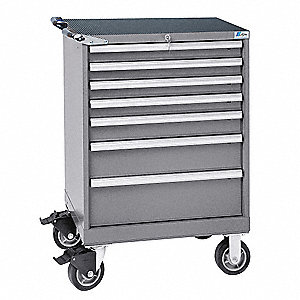 "Mobile Counter Height Modular Drawer Cabinet, 7 Drawers, 28-1/4""W x 22-1/2""D x 41-1/2""H Light Gray"