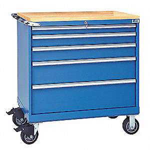 "Mobile Counter Height Modular Drawer Cabinet, 5 Drawers, 40-1/4""W x 22-1/2""D x 43-1/4""H Bright Blue"