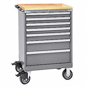 "22-1/2"" x 28-1/4"" x 41-1/2"" Light Gray Mobile Service Bench, 165 lb. Load Capacity"