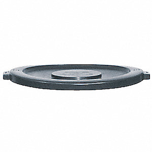 Trash Can Top,Flat,Snap-On Closure,Gray