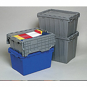 "Attached Lid Container, 1.12 cu. ft. Volume Capacity, 21-1/2"" Outside Length, 15"" Outside Width"