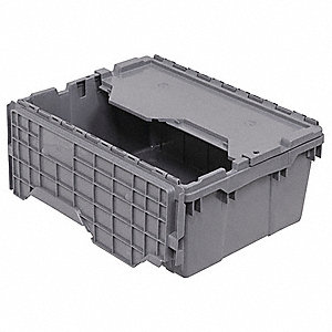 "21-1/2""L x 15""W x 9""H Industrial Grade Polymer Attached Lid Container, Gray"