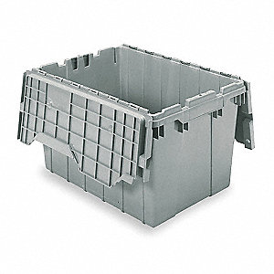 "Attached Lid Container, Gray, 12-1/2""H x 21-1/2""L x 15""W, 1EA"
