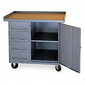Gray Mobile Service Bench, 1000 lb. Load Capacity, (2) Swivel w/Lock, (2) Rigid Caster Type