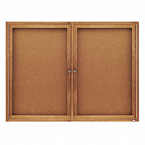 "Indoor Enclosed Bulletin Board, Cork, Natural Board Color, 48"" Width, 36"" Height"
