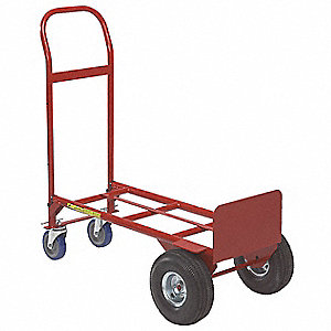 Convertible Hand Truck, Continuous Frame Flow-Back, Overall Height 47""