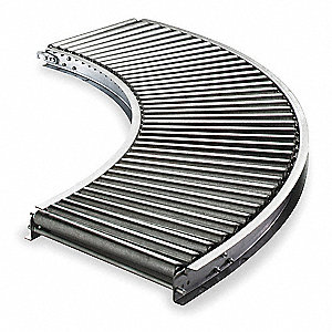 "Roller Conveyor, Light-Duty, 90° Curved, 1-3/8"" Roller Dia., Aluminum, Between Frame Width 10"""