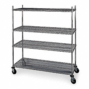 "Mobile Wire Shelving Unit, 48""W x 24""D x 69""H, 4 Shelves, Chrome Plated Finish, Silver"