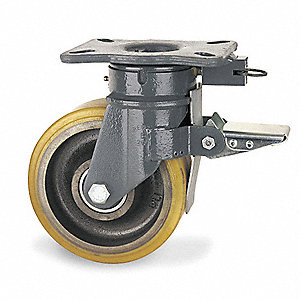 "8"" Heavy-Duty Kingpinless Swivel Plate Caster, 3960 lb. Load Rating"