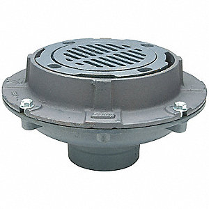 "Cast Iron Round Floor Drain, No Hub Connection, 4"", Pipe Dia., 3-3/4"" Height - Drains"
