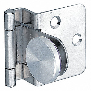 "Glass Door Hinge, Screw-On Mounting, 8.8 lb. Load Capacity, 1-11/32"" x 1-11/32"""
