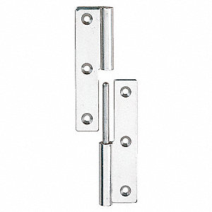 "1-27/64"" x 2-33/64"" Stainless Steel Lift-Off Hinge With Holes and Not Rated Load Capacity"