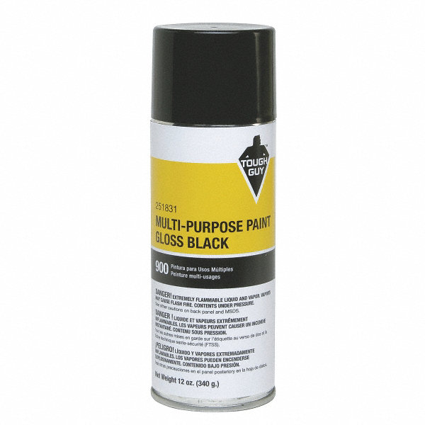 Tough guy spray paint in gloss black for masonry metal wood 12 oz 4wga7 4wga7 grainger Black metal spray paint