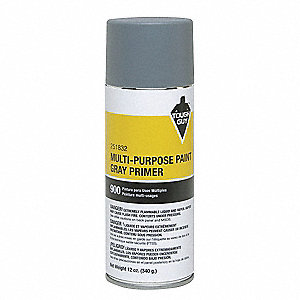 Solvent-Base Spray Primer, Flat Gray, 12 oz.