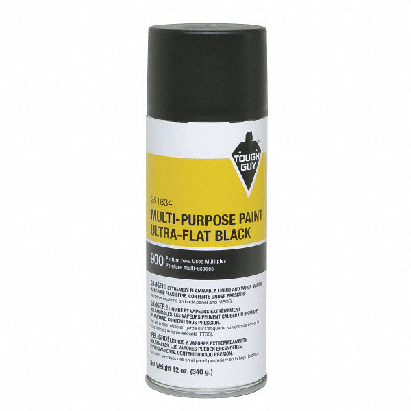Tough Guy Spray Paint In Ultra Flat Black For Masonry Metal Wood 12 Oz 4wgc1 4wgc1 Grainger