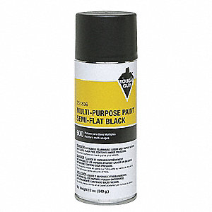 Spray Paint in Semi-Flat Black for Masonry, Metal, Wood, 12 oz.