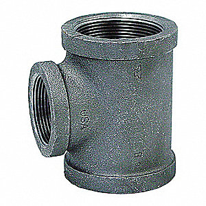 "Galvanized Malleable Iron Reducing Tee, 1-1/2"" x 3/4"" x 1-1/2"" Pipe Size, FNPT Connection Type"