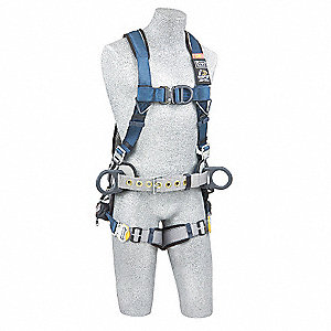 L Wind Energy Full Body Harness, 6000 lb. Tensile Strength, 420 lb. Weight Capacity, Blue/Gray