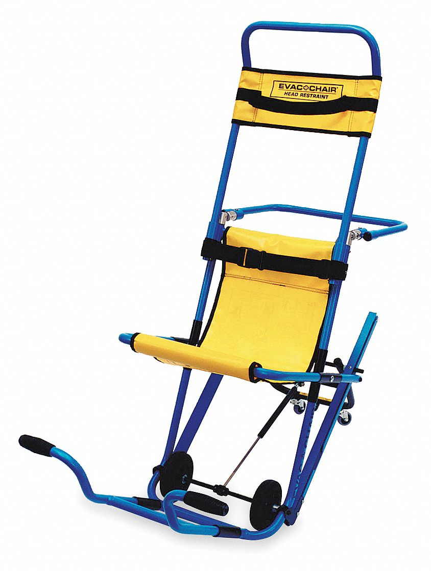 Aluminum Stair Chair with 400 lb Weight Capacity, Blue Textured Frame With Yellow Hammock and Headre