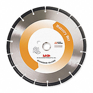 "14"" Wet Diamond Saw Blade, Segmented Rim Type, Application: Masonry"