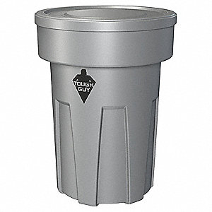 "25 gal. Round Open Top Trash Can, 22-1/4""H, Gray"